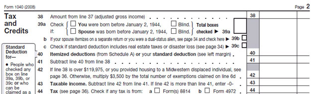 Screenshot of tax form 1040