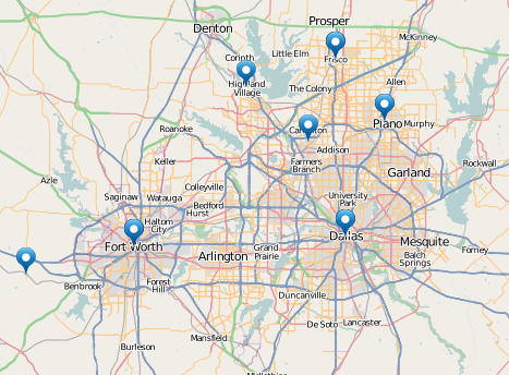 map of SCL Providers in the Dallas/Ft Worth, TX area