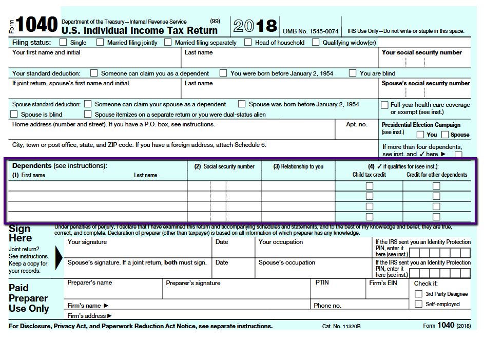 US Federal Tax form 1040 pg 1